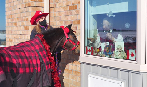 Pony visits Long-Term Care home dressed for Valentine's Day.