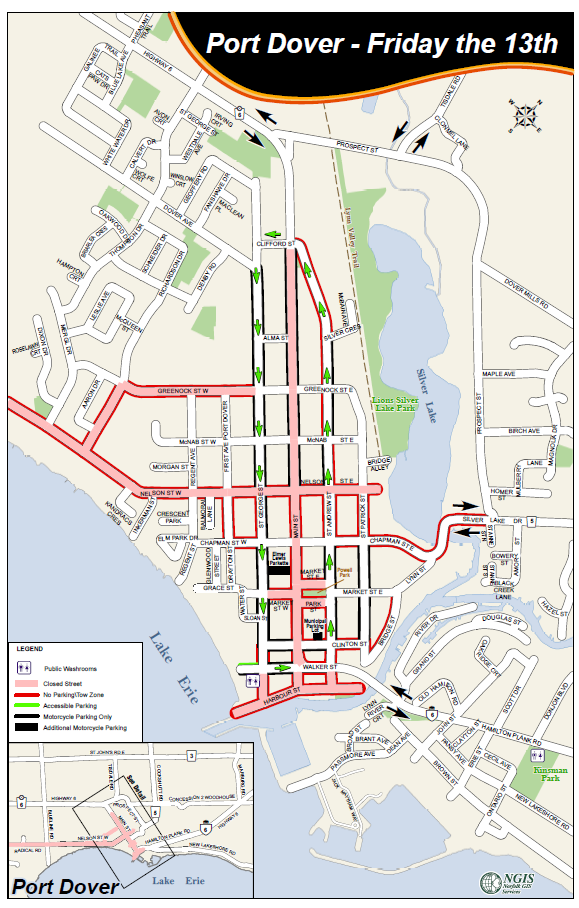 On Monday, Norfolk County released a road closure map for traffic in Port Dover on Friday, August 13.